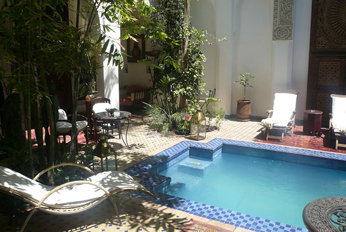 Piscine dans un riad Marocain