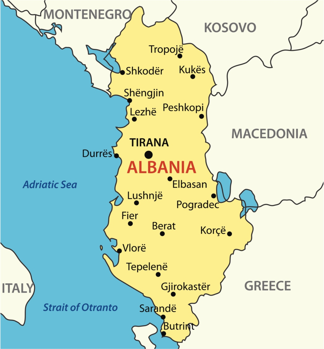 Carte de l'Albanie